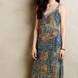 Anthropologie Leifsdottir blue silk dress